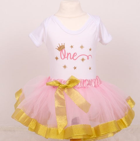 Baby Girls First Birthday Tutu Outfit - Gold or Silver