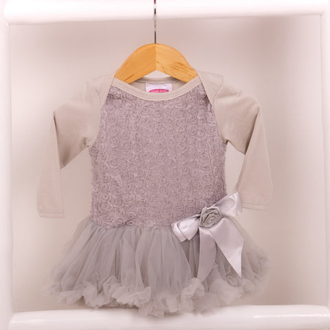 Rose Onesie Pettidress in Soft Grey