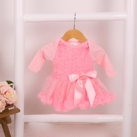Sparkle Rose Onesie Pettidress in Pale Pink