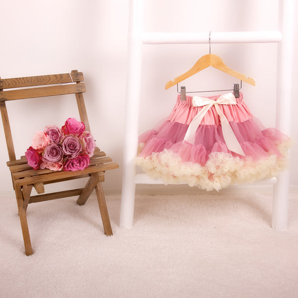 Rose & Cream Pettiskirt Tutu & Satin Bow