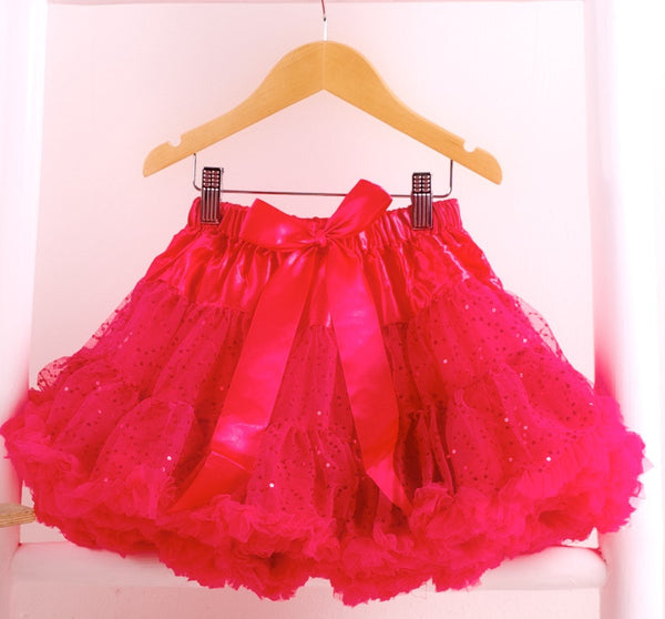 Hot Pink Shimmer Pettiskirt Tutu & Satin Bow