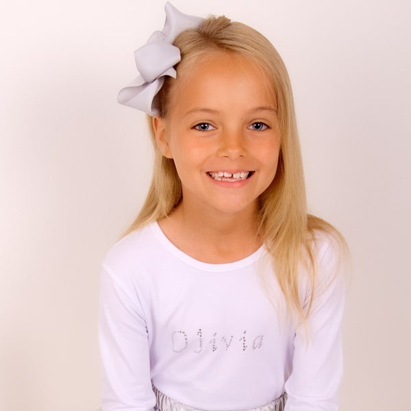Girls Diamante Personalised White T Shirt - Available Short or Long Sleeves
