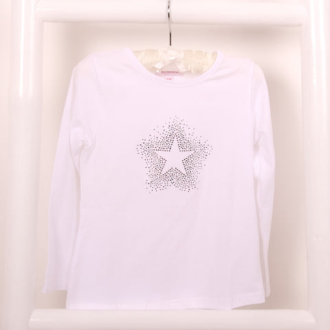 Starburst Diamante Long Sleeve White T Shirt