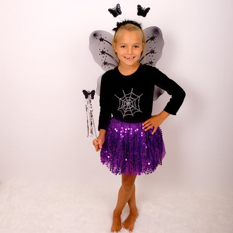 Purple Halloween Sparkle Tutu And Wings Set