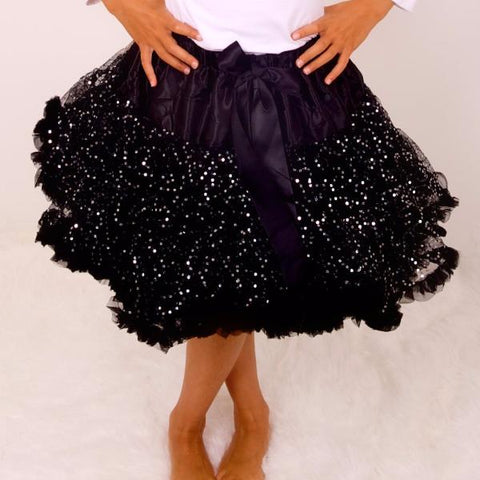 Black Shimmer Pettiskirt Tutu & Satin Bow