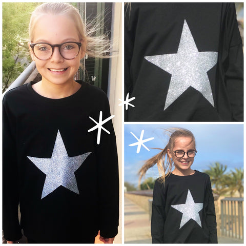 Girls Glitter Star Drop Shoulder Long Sleeve Top (4 colour choices)