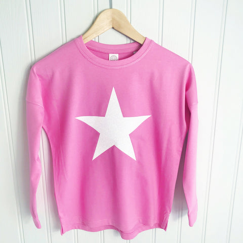 star top, girls top, girls star long sleeve top, star tshirt, glitter star, glitter t shirt, long sleeve t shirt for girls
