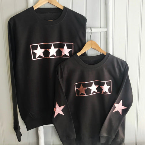 Mummy and Me Rose Gold Star Design GIFT SET  Long Sleeve Sweatshirts - Charcoal Grey or Black