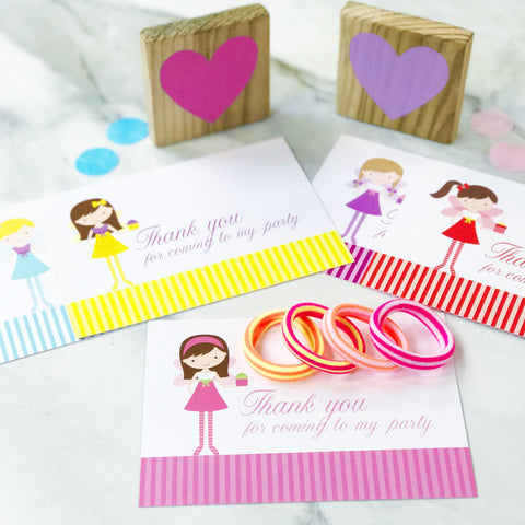 Fabulous Party Bag Filler Cards with Hair Bobbles