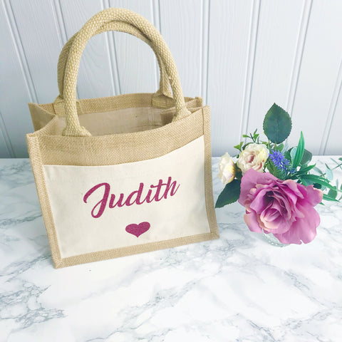 Set of 2 Personalised  Jute and Canvas Tote Bag With Any Phrase/Name