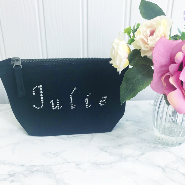 Diamante Personalised Make Up Toiletries Bag - Perfect Gift for Girls Mums &  Friends