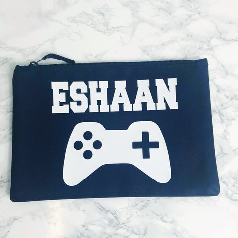 Boys Personalised Gaming Xbox, PS4 Wash Bag, Accessories Bag, Pencil Case - 5 Colour Options
