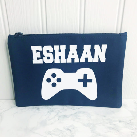 boys personalised wash bag pencil case accessory bag gaming controller xbox control ps4 personalised gifts for boys