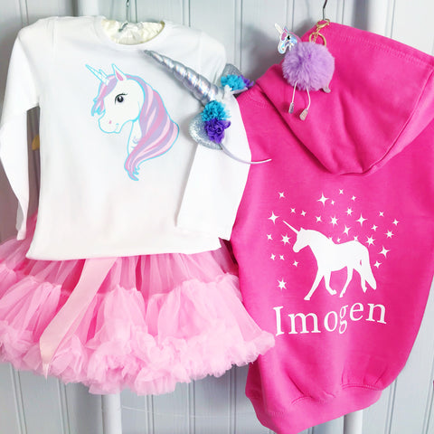 Girls' Unicorn Personalised Hoodie  - 7 colours - Personalised Name or Slogan