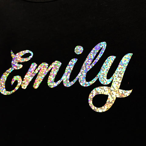 Girls Sparkly Personalised Long Sleeve Black T Shirt