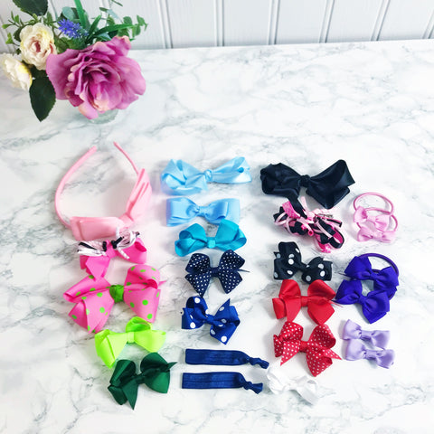 Bundle of 200 Hair Accessories - Bows, Clips, Bobbles, Headbands