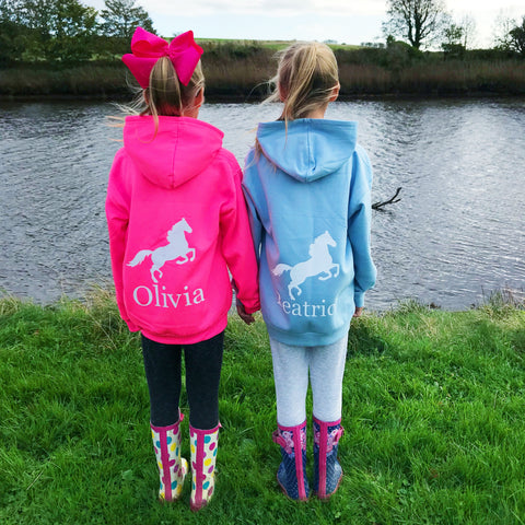 Girls' Horse Riding Personalised Hoodie  (7 colours)