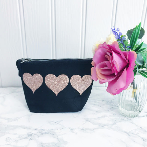 Sparkle Heart Make Up Toiletries Bag - Perfect Gift for Girls Mums &  Friends