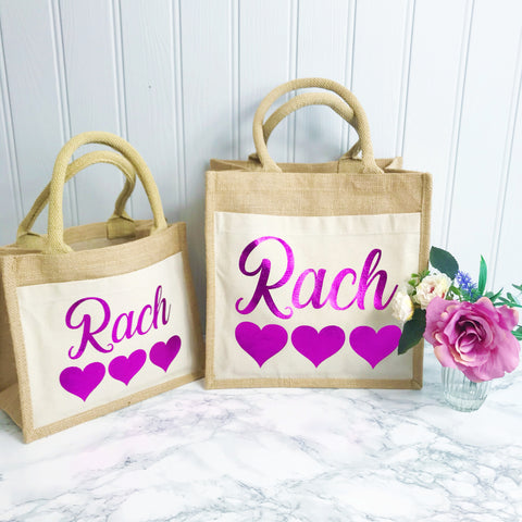 Personalised Gift Bag - Jute and Canvas Tote Bag With Any Phrase/Name