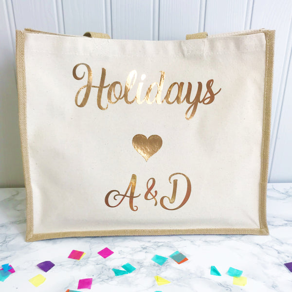 Honeymoon Holiday Bag- Jute and Canvas Tote Beach Bag With Any Phrase/Name - Perfect for Honeymoon and Weddings