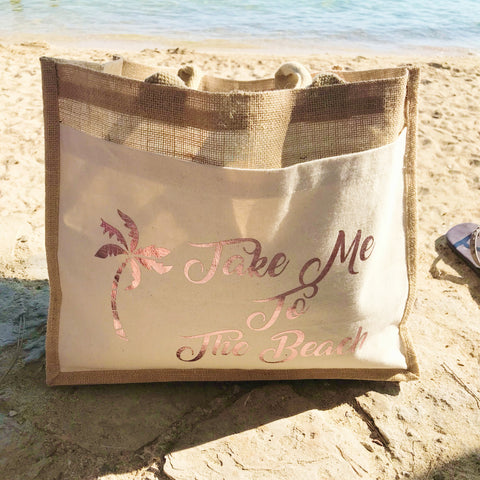 Take Me To The Beach - Jute and Canvas Tote Beach Bag With Any Phrase/Name