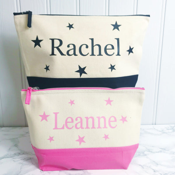 Personalised Star Name Two Tone Make Up Toiletries Bag - Perfect Gift for Girls Mums &  Friends