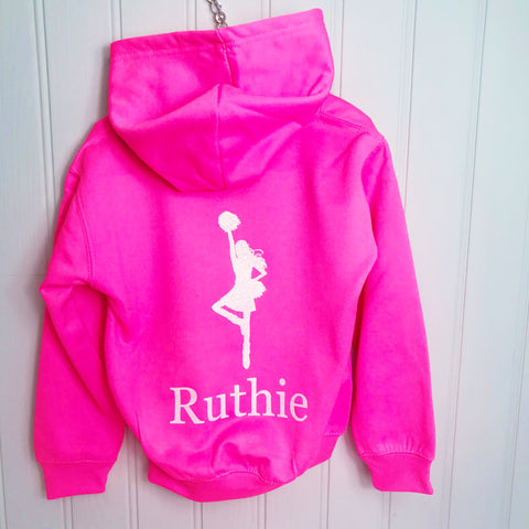 Girls Cheerleading Personalised Hoodie  - 7 colours - Personalised Name or Slogan