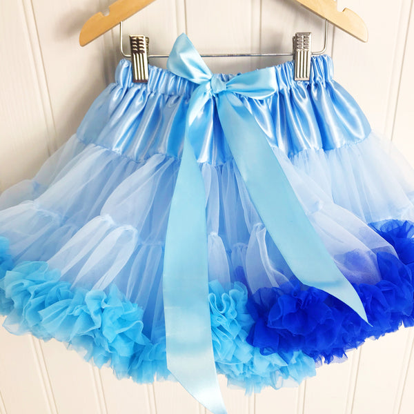 Blue Seas Mix Pettiskirt Tutu & Satin Bow