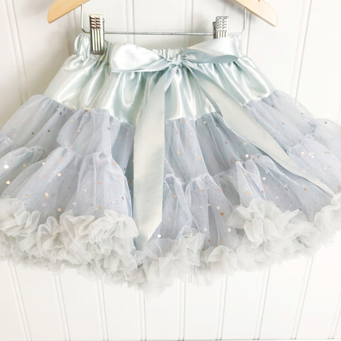**NEW**  Soft Grey Party Dot Pettiskirt & Satin Bow