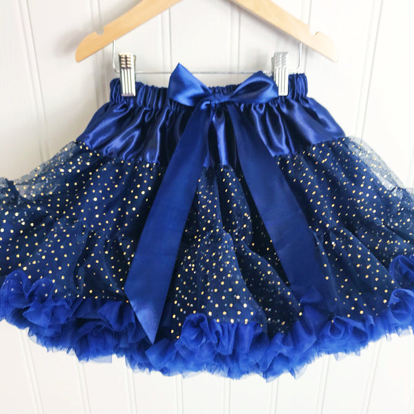 **NEW**  Navy Party Dot Pettiskirt & Satin Bow