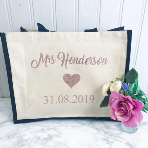 Bride to Be - Personalised Wedding Jute and Canvas Tote Bag With Any Phrase/Name - Perfect for Honeymoon and Weddings
