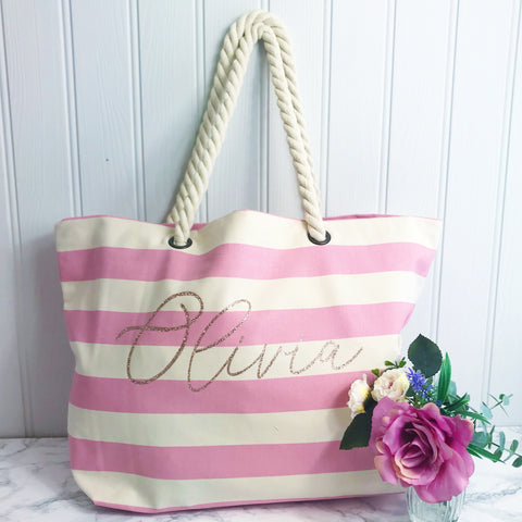 Personalised Pink Stripe Canvas and Rope Tote Beach Bag With Any Phrase/Name