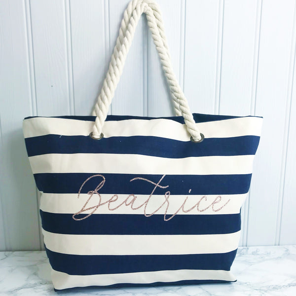 Personalised Navy Stripe Canvas and Rope Tote Beach Bag With Any Phrase/Name