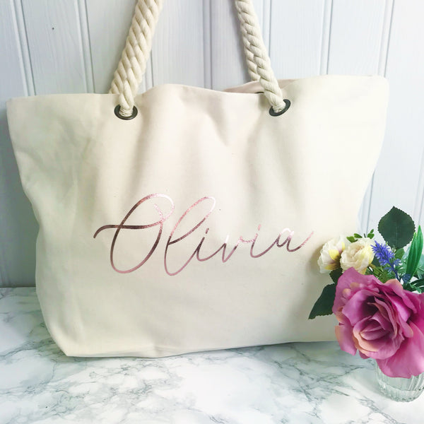 Personalised Natural Ivory Canvas and Rope Tote Beach Bag With Any Phrase/Name