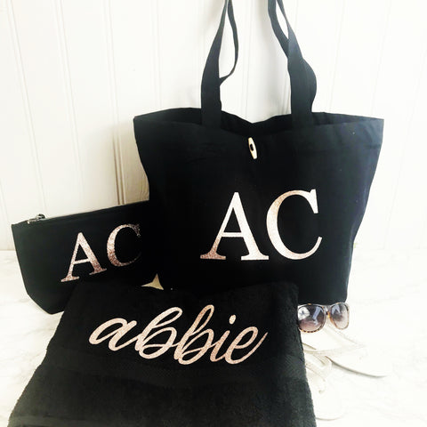 NEW Personalised Beach Towel, Beach Bag & Make Up Bag Set - SPECIAL OFFER