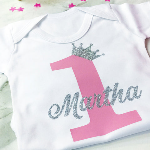 Baby Boy Girls Personalised First Birthday Crown Onesie