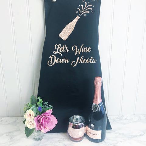 Adult 'Lets Wine Down' Apron - Teacher Gift,Mothers Day Gift, Perfect Gift for Mum, Sister, Daughter