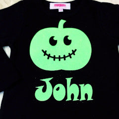 Halloween Pumpkin Personalised Long Sleeve T Shirt