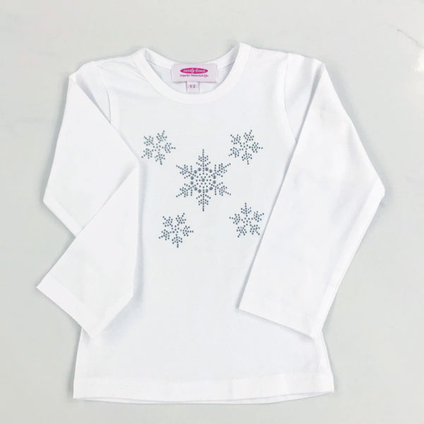 Snowflake Diamante Long or Short Sleeve White T Shirt