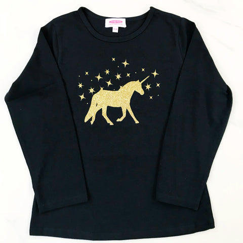 Glittery Unicorn T Shirt - Black Long Sleeve (4 Unicorn colours)