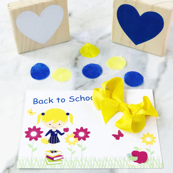 Back to School Gift Card & Small Bow Set - Available in Solids and Ginghams