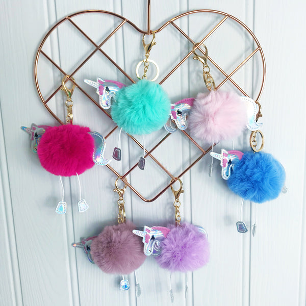 Unicorn Pompom Key Ring and Party Bag Filler