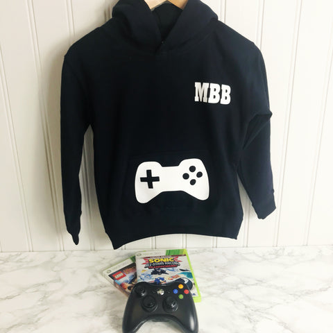 Boys Gaming Hoodie Personalised, Navy, Royal Blue, Black XBOX,hoodie boys hoodie, girls hoodie, personalised hoodie, activity hoodie, rugby, football, tennis, gymnastics, horseriding, golfing, golf, dance, unicorn hoodie personalised gifts Playstation