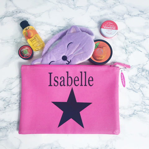 Girls Personalised Star Design Wash Bag, Accessories Bag  - (6 colours available)