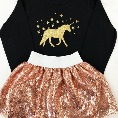 Gold Glittery Tutu and Unicorn Black Long Sleeve Top Gift Set