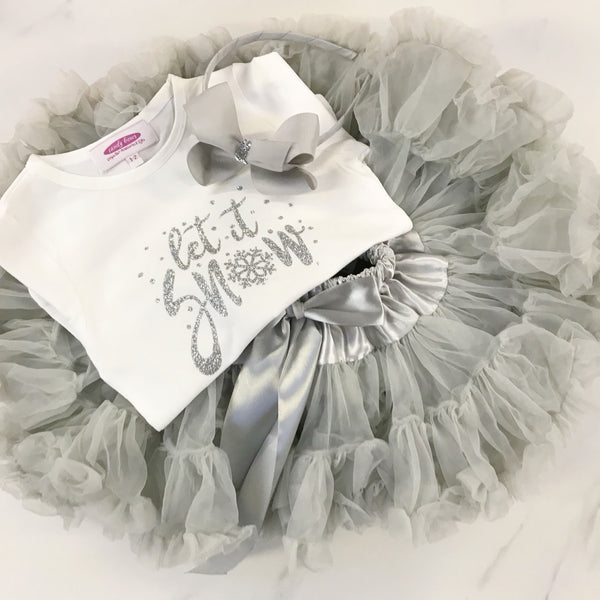 SOFT GREY Sparkle & Shimmer 'Let it snow'  T Shirt & Pettiskirt GIFT SET