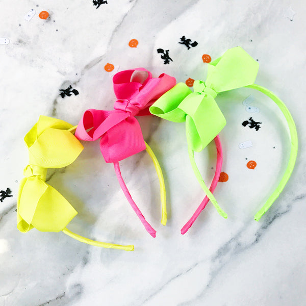 Halloween Traditional Bow Headband - Pink, Green or Yellow