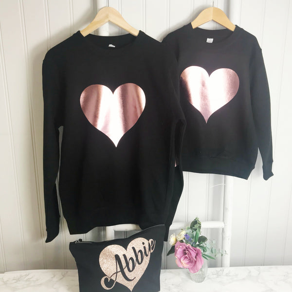 girls heart hoodie rose gold, mummy and me hoodie, girls rose gold top, girls hoodie, heart hoodie