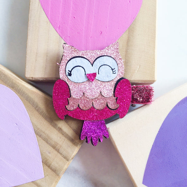 Pink and Purple Glitter Owl Hair Clip