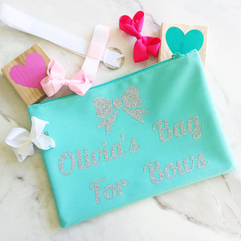 Girls Personalised Makeup Bag &  Hair Bow Gift Set